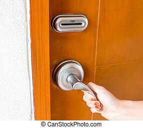 main, porte, ouverture