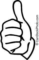 main, pouces haut, dessin animé