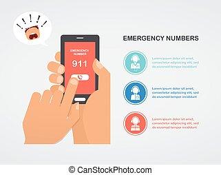 main, presse, urgence, nombre, 911, sur, a, téléphone portable, demander aide
