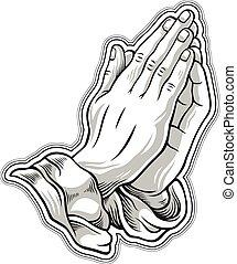 main, prière, blanc, noir