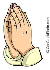main, prière