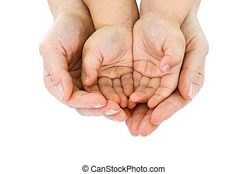 main, prise, femme, poignée, enfant