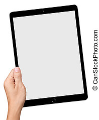main, prise, grand, pc tablette, isolé, blanc, fond