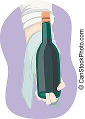 main, prise, illustration, vin