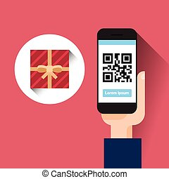 main, prise, intelligent, téléphone, balayage, qr, code, à, boîte-cadeau, message, achats, vente, concept