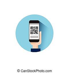 main, prise, intelligent, téléphone, balayage, qr, code, icône, barcode, balayage, à, téléphone