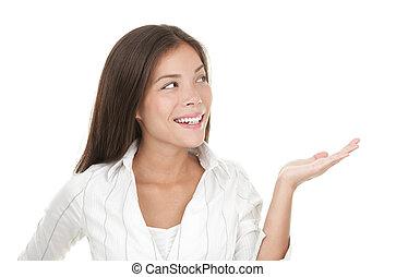 main, projection, ouvert, femme, paume, /