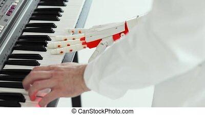 main., prothétique, deux, prothèse, scientifique, humain, robotique, piano, main, mains, jouer, ingénieur