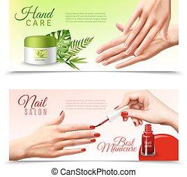 main, réaliste, 2, produits de beauté, bannières, soin