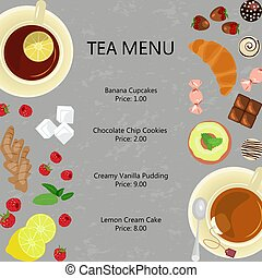 Cups of tea and sweets