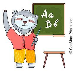 main, rigolote, dessin animé, student., tableau noir, debout, paresse, stylo, animal, écolier