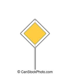 Main road sign icon. Flat design