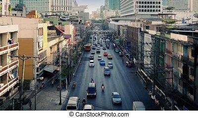 Main Road Through City In Asia City
