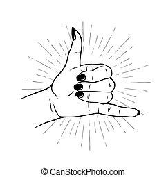 main, shaka, geste, femme, signe