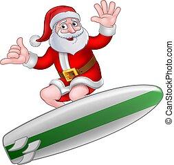 main, shaka, noël, santa, dessin animé, surfer
