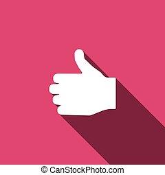main, signe., doigt, icon., aimer, pouce, symbole., haut