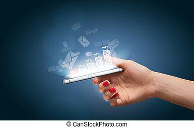 main, smartphone, icones affaires
