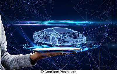 main, smartphone, voiture, hologramme