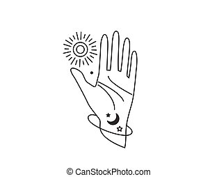 main, soleil, portée, planète, illustration, dehors, vecteur, simple, ligne, design., style, humain, lune, star., espace, plat, arrêt, ouvert, concept, geste, galaxie