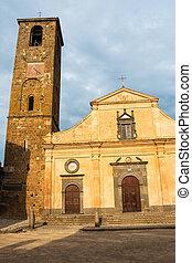 Main square and San Donato church in Civita di Bagnoregio, Lazio, Italy