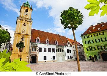 Hlavne namestie or Main Square square in downtown Bratislava, Slovakia