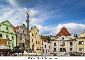 Main square in Cesky Krumlov, Czech republi