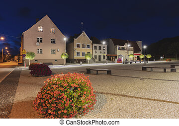 Main Square in Frombork. Frombork, Warmian-Masurian, Poland.