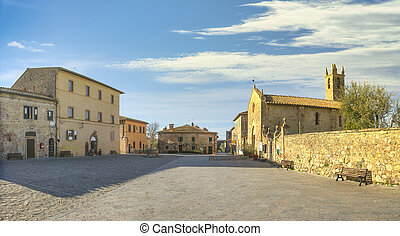 Main square in Monteriggioni fortified village, Siena, Tuscany. Italy
