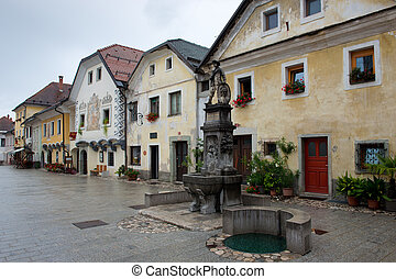 Ancient houses in the main square of Radovljica in Slovenia