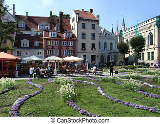 Riga's main square. Travel destination. Old town view.