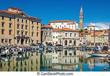 Main square Tartini of Piran city view from port of Piran, Slovenia, Europe