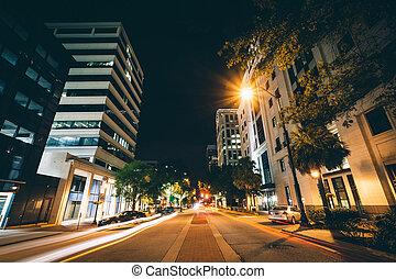 Main Street at night, in downtown Columbia, South Carolina.