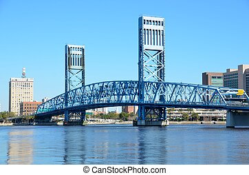 Famous blue Main Street bridge Jacksonville, Florida