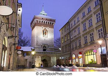 Main street in historic Krakow, Poland