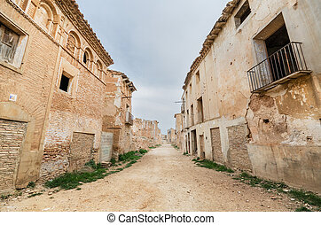 Main Street in the abandoned town of Belchite. Was destroyed during the Spanish civil war, Saragossa, Spain.
