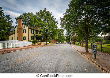 Main Street in the Old Salem Historic District, in Winston-Salem, North Carolina.