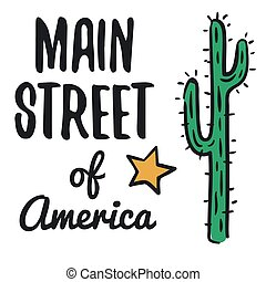 Main street of America illustration on white background