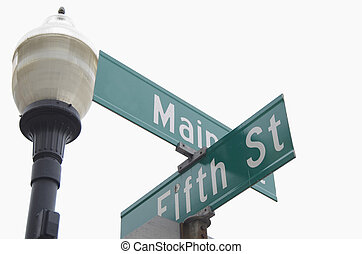 Main Street Sign - Green street sign with lamp post, Main...