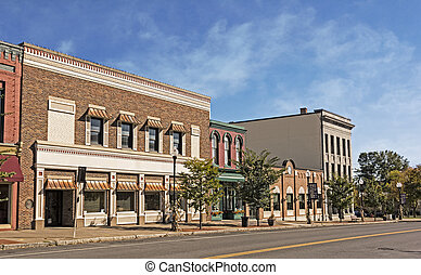 Main Street - A photo of a typical small town main street in...