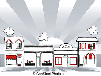 Illustration of USA retro main street stores, shops and small businesses, sunrise ray background with copy space. EPS8 compatible.