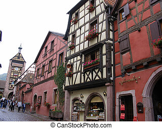 Main street Village of Riquewihr - Typical street of the...