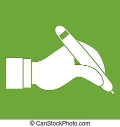 main, stylo, noir, tenue, vert, icône