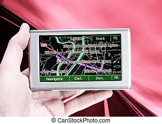 main., système, véhicule, homme, navigation, gps