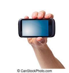 main, téléphone portable, (smartphone, mâle, touchscreen)