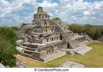 main temple at the Mayan archeological site of Edzna in the state of Campeche, Mexico