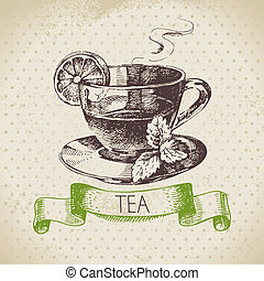 main, thé, menu, croquis, conception, arrière-plan., vendange, illustration., dessiné