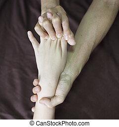 main, thaï, masage, dans, les, station thermale jour