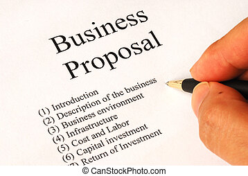 Main topics of a business proposal