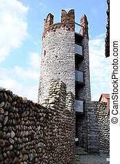 main tower in a medioeval castle, made of stones