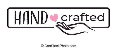 main, travaillé, coeur, dons, magasin, isolé, icône